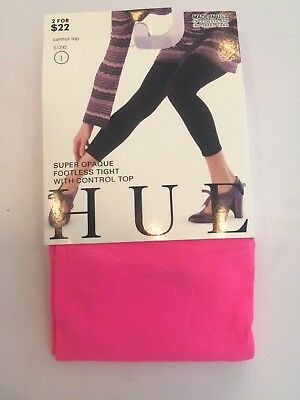 Hue Super Opaque Footless Tight  With Control Top Size 1 Neon Pink $13.50