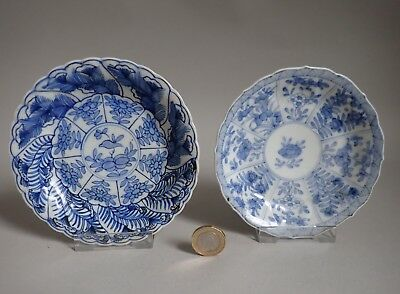 Two Antique Chinese Blue and white Moulded Dishes Qing Kangxi