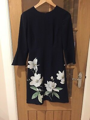 Hobbs Navy Floral Dress. With Flared Sleeves. Size 8. Brand New Without Tags.