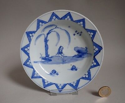Antique Chinese Blue and White Figure in Landscape Plate Dish QING