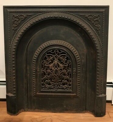 Fabulous Antique Cast Iron Victorian Fireplace! Door And Vents Open Gorgeous