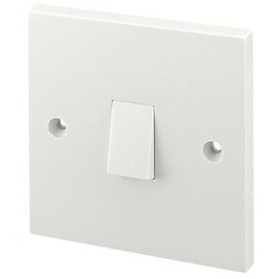 Light Switch White Plastic Single 1 Gang 2 Way Switch BS ASTA Approved 10 Amp UK