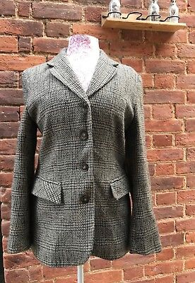 Vintage 80s Etam Brown Beige Tweed Wool Mix Jacket Blazer 12 14