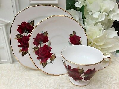 ROYAL VALE 1960s TRIO SET CUP SAUCER & PLATE - RED ROSES GILDED BONE CHINA