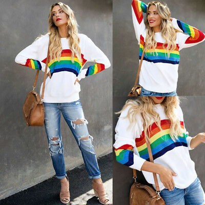 Women Rainbow Striped Sweatshirt Blouse Ladies Pullover Long Sleeve Loose Tops