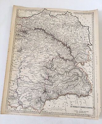 ORIGINAL 1832 SDUK Map Hand Colored Austrian Dominions,Hungary,Transylvania