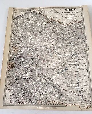 ORIGINAL 1832 -SDUK Map Hand Colored  - Europe- Germany -Austrian Dominion