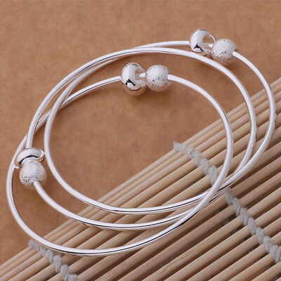 "Girl's 925 Sterling Silver Triple Wire Beaded Bangle Size 6-7"" USA"