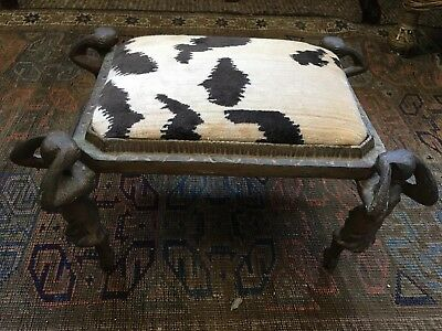 Antique French Art Nouveau Cast Iron Ballerina Footstool  Tiger Silk Velvet $$