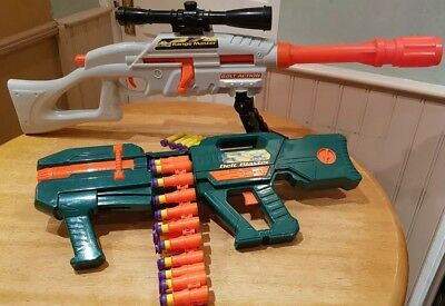 Nerf Style Buzz Bee Toys Range Master Sniper Rifle + Belt Blaster Machine Gun