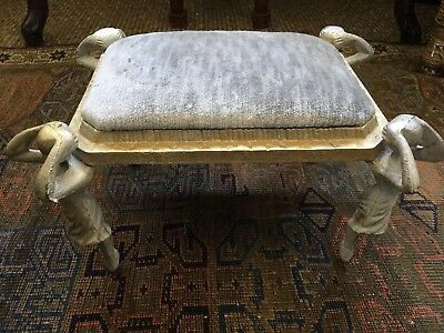Antique French Art Nouveau Cast Iron Ballerina Footstool  Silk Velvet Fabric  $$