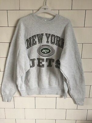 c00822f76 Vintage Retro Usa Pro Sports Grey New York Jets Sweatshirt Sweater Overhead   36