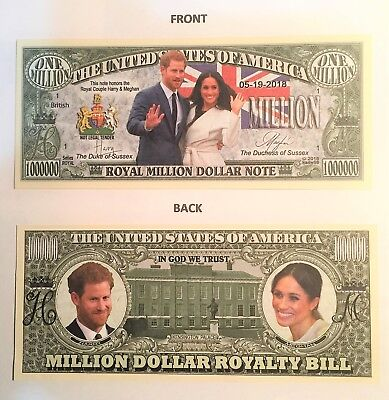 Harry and Meghan Royal $1,000,000 Novelty Note, Duke Duchess Buy 5 Get one FREE