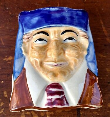 """Cigarette Box 3D """"Toby Mug Style Face"""" w Cover Figural Vintage """"Wales China"""""""