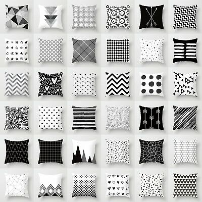 Geometric Cushion Cover Black And White Polyester Throw Square Pillow Case 18''