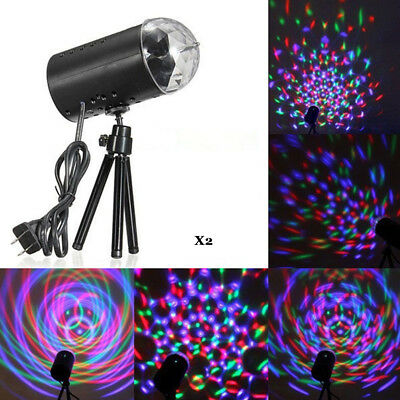 2x RGB Rotating Light LED Laser Disco Party DJ LED RGB Stage Effect Light Lamp