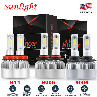 9005+9006+H11 LED Headlights Bulbs 4500W 675000LM Hi/Low Beam Fog Lights 6000K