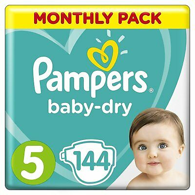 Pampers Baby Dry Size 5 Air Breathable Channels Mega Pack 144 Nappies 11-16 kg