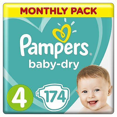 Pampers Baby Dry Size 4 Air Breathable Channels Mega Pack 174 Nappies NEW