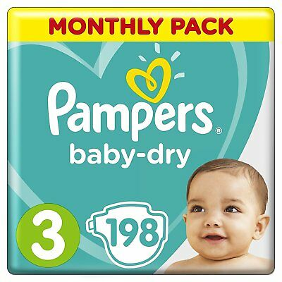 Pampers Baby Dry Size 3 Air Breathable Channels Mega Pack 198 Nappies NEW