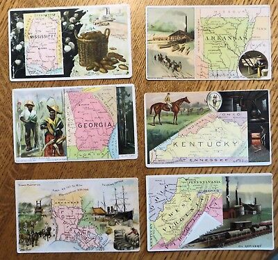 6 Old Arbuckles' Ariosa Coffee Trade Cards Southern States with MAPS