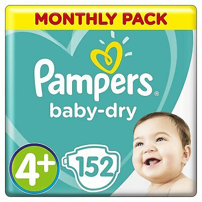 Pampers Baby Dry Size 4 + Plus Air Breathable Channels Mega Pack 152 Nappies NEW