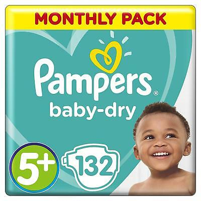 Pampers Baby Dry Size 5 + Plus Air Breathable Channels Mega Pack 132 Nappies NEW
