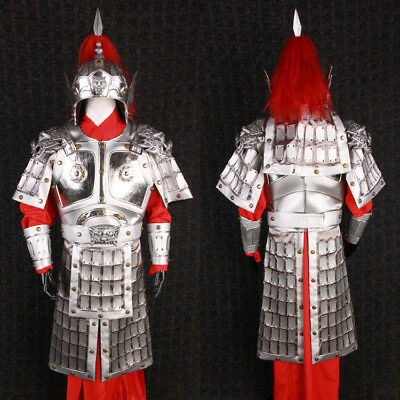 China Ancient silvery General helmet and armor clothes