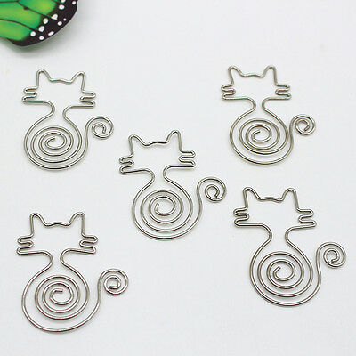5pcs Metal Cute Cat Bookmarks Wire Art Paperclip School Office New Type