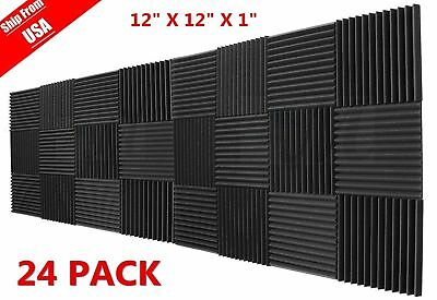"24 Pack 1""x12""x12"" Acoustic Foam Tiles Panel Wedge Studio Soundproofing Wall MY"