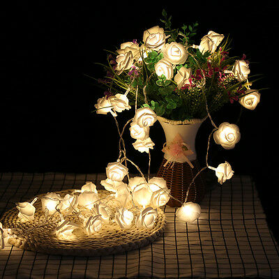 2 2m Led Rose Flower Fairy String Lights Battery Operated Bedroom Home Decor