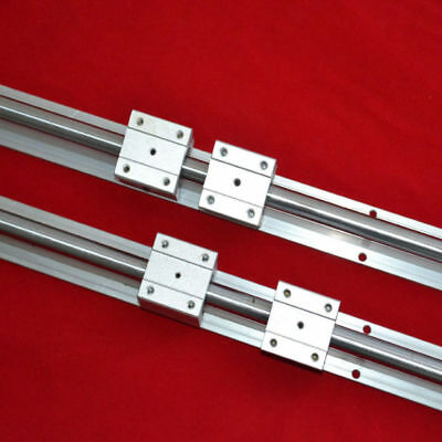 Support Linear Bearing Rail SBR16-750MM 2 Rails +4 Slide Blocks for CNC