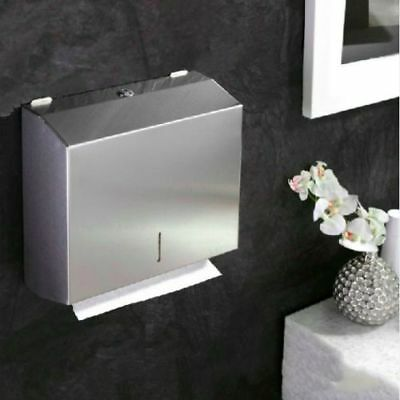 Brushed Stainless Steel Metal C Fold Paper Hand Towel Wall Dispenser Bathroom UK