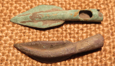 Scythian- Sarmatia Bronze 2 pcs.Old Original Ancient Barbed Arrowhea 7-4 BC #6