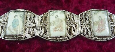 Antique Vintage Estate Asian Chinese Filigree Silver Bracelet Engraved Panels