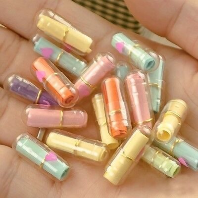 Transparent 50pcs Multi-Color Heart Shape Love Message Letter Capsule Pills Gift
