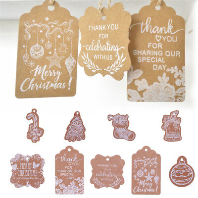 50pcs Merry Christmas Kraft Paper Tag Thank You Paper Hang Tag Label Gift Card