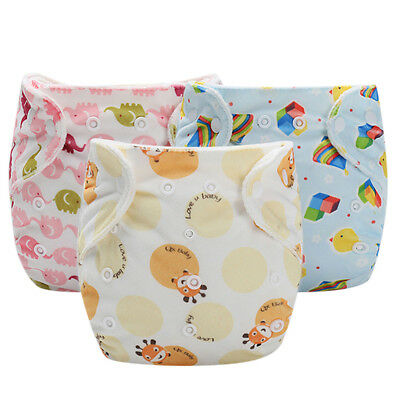 Cute Baby Infant kid Training Pants Reusable adjustable Diaper Washable Nappies