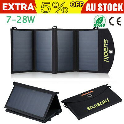 7-28W Folding Solar Panel USB External Battery Power Bank Pack Charger Camping