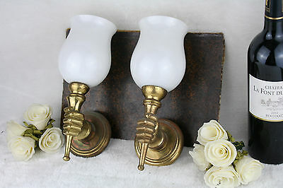 PAIR VTG 1950's French Brass hand empire style sconces wall lights opaline glass