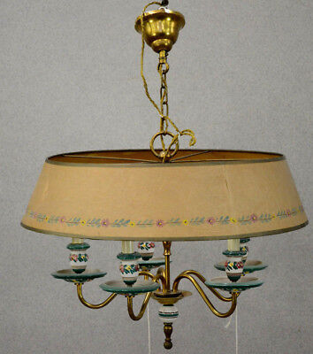 Gorgeous French bouillotte porcelain floral 5 arms chandelier pendant lamp