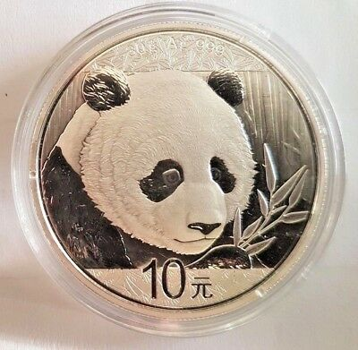 2018 Chinese Panda 30 Gram .999 Silver 10 Yuan Mint Sealed BU in  Capsule  Coin