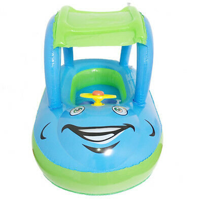 Portable Inflatable Baby Float Seat Boat Tube Ring Car with Sun Shade and Wheel