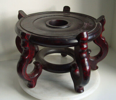 LARGE Chinese Carved Hardwood Stand for Bowl / Vase