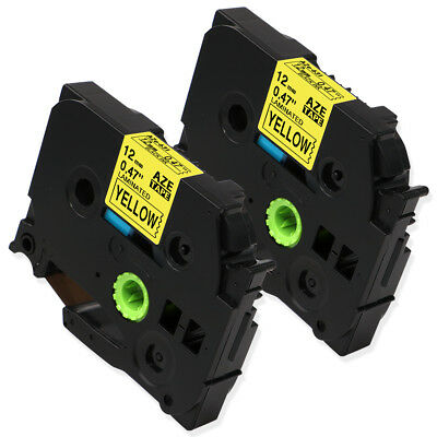2PK TZe-631 TZ631 Black on Yellow Compatible for Brother P-Touch Label 12mm