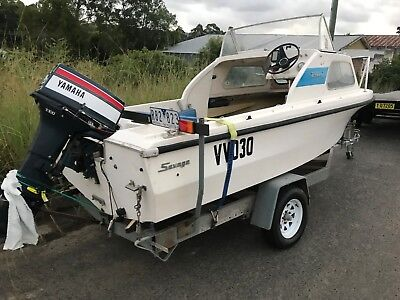 4.8M Half Cabin with 40HP Yamaha and trailer vic rego.