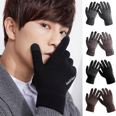 Mens Thermal Gloves Touch Screen Gloves Knitted Winter Gloves Soft Warm Mittens