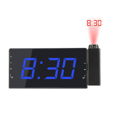 "LCD Digital LED Projector Projection FM Radio Snooze Alarm Clock 5"" Large Screen"