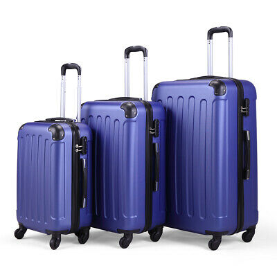 BHC 3pcs Luggage Spinner Coded Lock ABS Set Travel Bag Wheels Suitcase Deep Blue