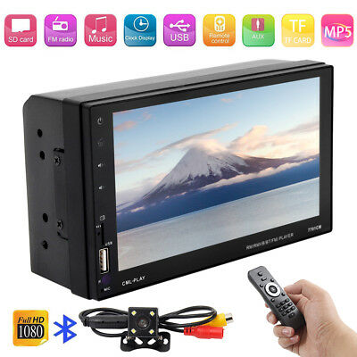 "2 DIN 7"" HD Bluetooth Car Stereo Radio MP5 FM Player Touch Screen + Rear  Camera"